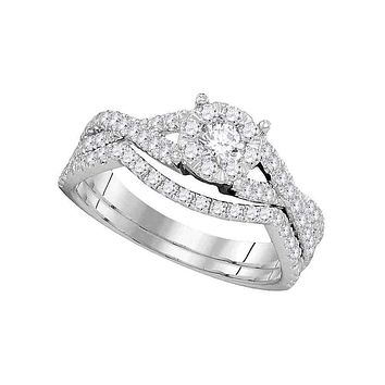 14kt White Gold Women's Diamond Princess Bridal Wedding Engagement Ring Band Set 3/4 Cttw - FREE Shipping (US/CAN)