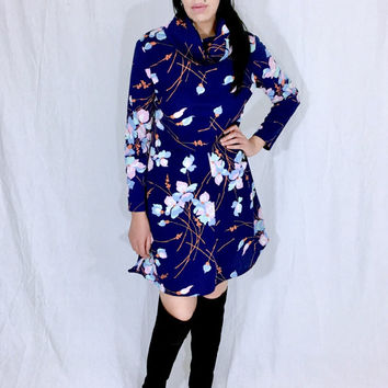 Vintage 60s Mod Navy Blue Flower Polyester Fold Over Cowl Neck Long Sleeve Loose Fitting Mini Shift Dress M // L One Size Fits Most