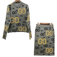 GUCCI New Popular Women Casual GG Letter Jacquard Letter Knit Long Sleeve Sweater Top Skirt Set Two-Piece Grey