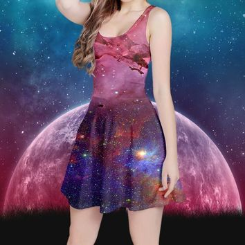 Nebula Galaxy Dress | Space Dress Tie Dye Print | Star Dress | Festival Clothing | Hippie Clothes | Psy Psychedelic | Kawaii Aesthetic Boho