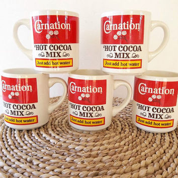 Vintage FIVE Carnation Hot Cocoa Mugs, red white cups, coffee cups, sign mugs, advertisement cups, Retro kitchenware