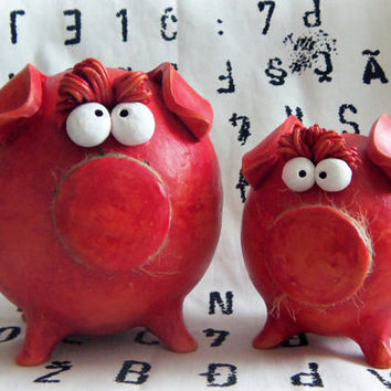 Set of Mother and Piglet Piggy Banks -- Handmade Red in Two Tones BABY SHOWER GIFT