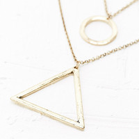 Circle Triangle Necklace in Gold - Urban Outfitters