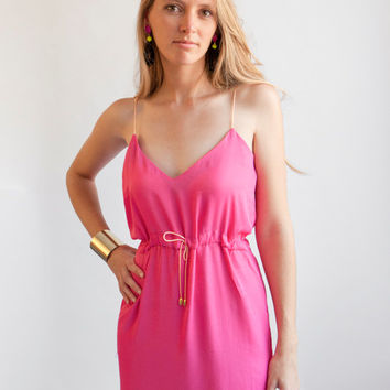 Bubblegum Pink satin mini dress / Pink spaghetti strep slip dress / camisole summer dress