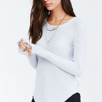 Truly Madly Deeply Helena Raw Edge Thermal Top - Urban Outfitters