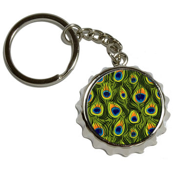 Peacock Print Pop Cap Bottle Opener Keychain