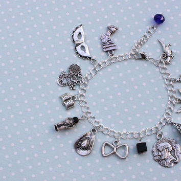 Doctor Who charm bracelet - 11 and the Ponds - 11th Doctor, Amy Pond, Rory Williams charm bracelet