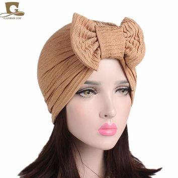 2017 New fashion Women's cotton Elegant pleated Bow Muslim Turban Chemo Cancer Cap Lady's turbante Hair Accessories