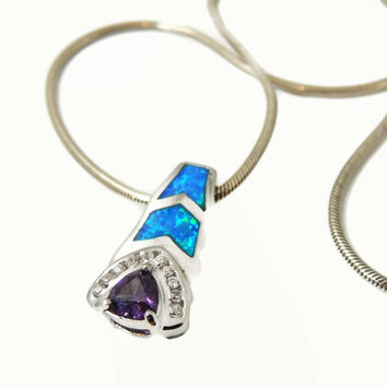 Inlaid Opal Amethyst Sterling Silver CZ Pendant with Chain