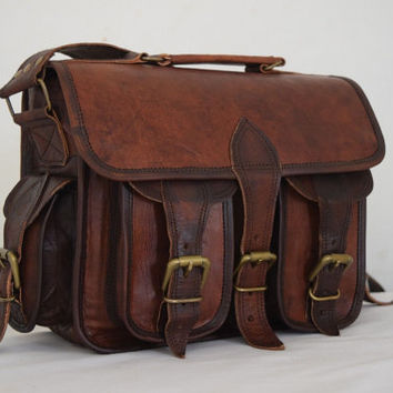 "DSLR Camera Leather Bag 11"" Vintage Leather Camera Bag"