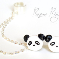 Panda  Ear Cuff Chain Earrings