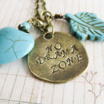 No Drama Zone Necklace, Quote Jewelry, Hand Stamped Jewelry, Sayings Jewelry, For Her, Blue Charm Necklace