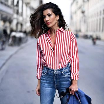 New Chic Office Ladies Red Striped Blouse Turn-down collar button Streetwear fashion shirts