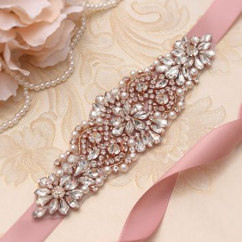 Rose Gold Crystal Wedding Sash ily couture