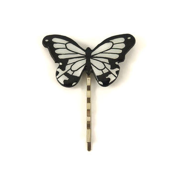 "Black and white ""Papilio dardanus"" butterfly bobby pin, eco-friendly painted plastic hair pin (recycled CD), wedding hair accessory"
