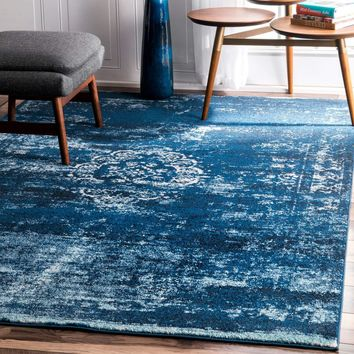 9341 Blue Medallion Distressed Oriental Area Rugs