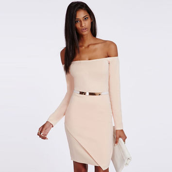 Elegant Strapless Dress Skirt Package Hip_Pink