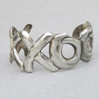 Taxco Mexico 1980's Vintage Sterling Silver Wide Hugs Kisses XO Cuff Bracelet