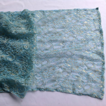 Seafoam Mint  Lace Table Runner, Wedding Shawl for shoulder, Large Lace Scarf Wedding Cape, Lace Shrug, Oversize Lace Capelet