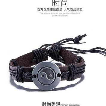 Yin Yang Bracelet Hemp Rope Braided Leather Bracelets Alloy  Handmade Charm Jewelry For Men Women