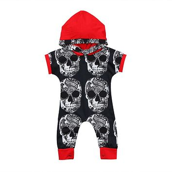 Newborn Infant Baby Boys Cool Clothes One-pieces Skull head Hooded Romper