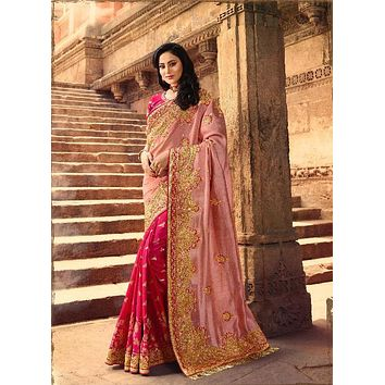 Pure Silk Pink and Gold Embroidered Rich Indian Wedding Sari - VIR13283
