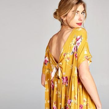 Mustard Floral Wide Neck Tunic