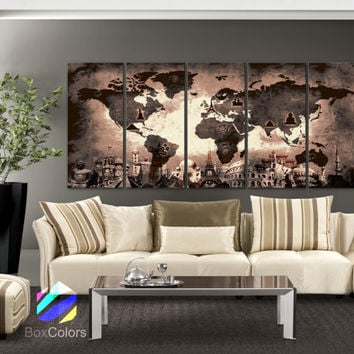 "XLARGE 30""x 70"" 5 Panels Art Canvas Print Original Wonders of the world Old Map Brown Sepia Wall decor Home interior (framed 1.5"" depth)"
