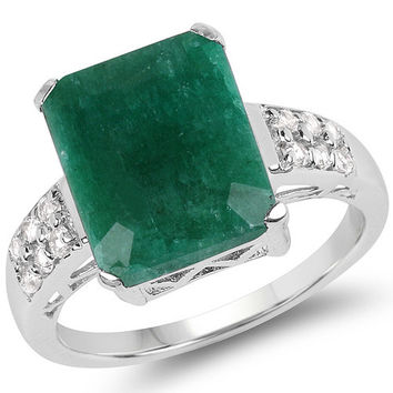 6.54 Carat Genuine Emerald & White Topaz .925 Sterling Silver Ring