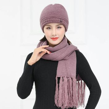 2016 Fashion Winter Wool Hat Scarf Cute Knit Crochet Beanies Cap Hats for Women Warm Scarf and Hat Twist Knitted Hat Mom caps