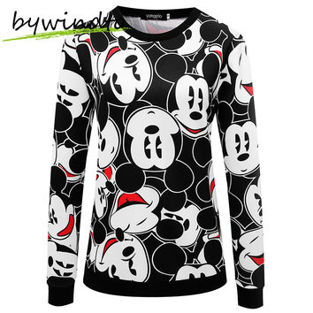 Free Shipping 2015 Autumn Winter Women Sweatshirts Mickey Printed Cartoon Tracksuits Hoodies
