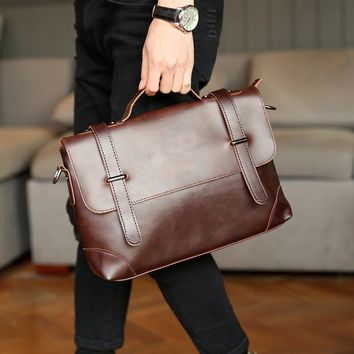 Vintage Tote Men Crazy Horse PU Leather Briefcase Handbag Messenger Bags Male Business Casual Cross Body Satchel Shoulder Bag