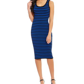 MICHAEL Michael Kors Stripe Ribbed Knit Tank Dress | Dillards