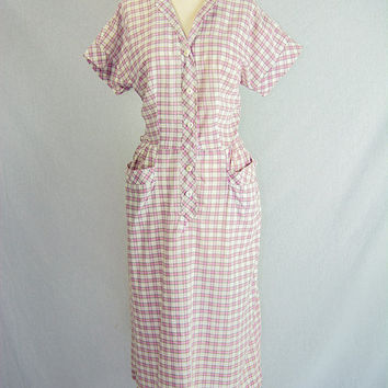 Vintage 50s Pink  Checked House Dress Pretty Button Details L