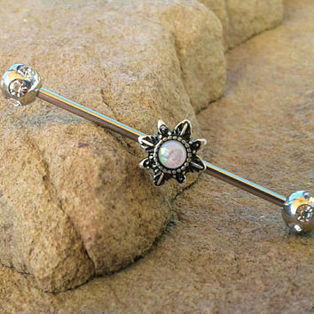 Glitter Opal Sun Industrial Barbell 14ga Surgical Stainless Steel Ear Barbell