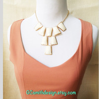 Ivory Necklace Statement, Bib necklace, high fashion necklace, party necklace, bold necklace