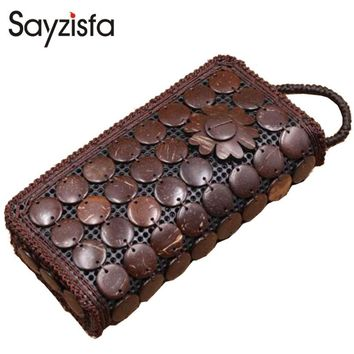 Sayzisfa 2017 Brand New Women Crafts bags Handmade natural coconut shells Bag ladies Weave Clutch bag Coin Purse phone bagsT408