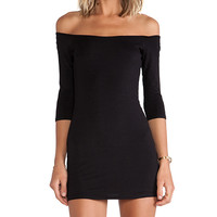 BLQ BASIQ Off The Shoulder Mini Dress in Black