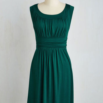 Mid-length Sleeveless A-line I Love Your Dress in Forest Green