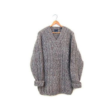 Chunky Wool Fishermans Sweater Hand Knit Cable Knit Jumper Thick Wool Pullover Speckled 90s Gap Sweater Long Boho Sweater Oversized Medium