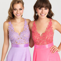 Madison James 16-413 Sheer Illusion Lace Applique Prom Dress Evening Gown