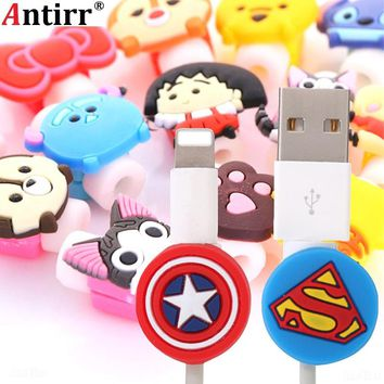 Cartoon USB Charger Cable Winder Protective Case Earphone Cord Protection Sleeve Wire Cover Data line Protector For iphone plus