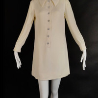 60's Ivory Crepe Mini Dress Lord & Taylor Carlye Mod Classic Tunic Shift Dress Rhinestone Buttons Cocktail Party Formal Wedding Bridal Dress