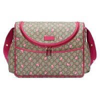 Gucci BABY GG Supreme Canvas Pink Leather Trim Rose Trim Diaper Pack
