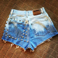 High-waisted denim shorts bleached and studded