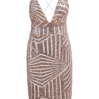 Pink Spaghetti Strap Sequined Bodycon Dress - Sheinside.com