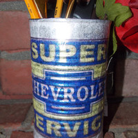 Father's Day! Chevy Ford Tin Can Art Metal Organizer Office Tools Garage Pencils Floral Upcycled  Home Decor Fathers Day Gift