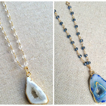 Agate stone druzy long necklace. 18k gold fill chain with wire wrapped gemstone necklace. Gold electoplated raw agate stone. White or Navy