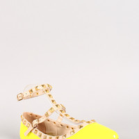 Neon Patent Pyramid Studded T-Strap Flat