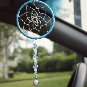 Evil Eye Car Dreamcatcher: Interior Car Accessory, Car Mirror Charm, Rearview Mirror Charm, Small Dreamcatcher, Hippie Dreamcatcher